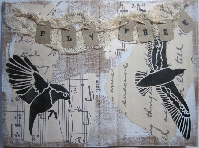 art journal spread with TCW684s stencil and ink LEFKO