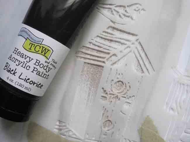 TCW664 stencil and TCW black licorice acrylic paint LEFKO