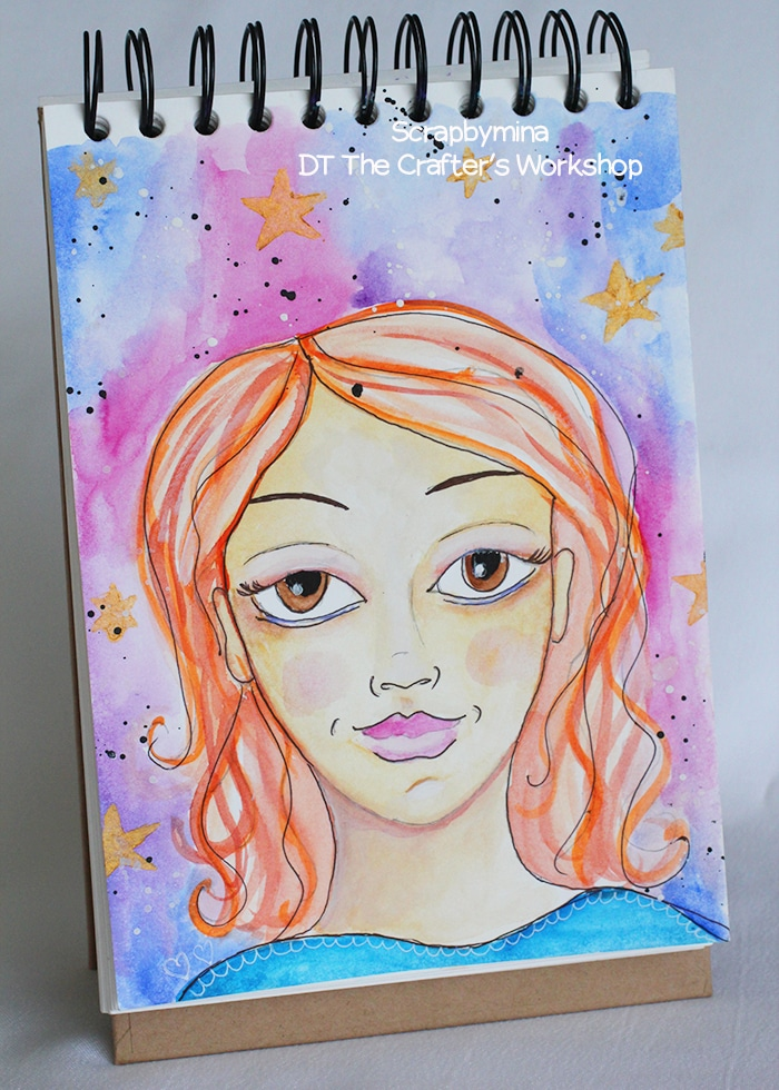 Art Journal Spread with Charlize (TCW695s) and watercolor