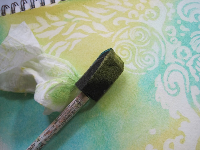 Blend acrylic with baby wipes over gesso resist LEFKO