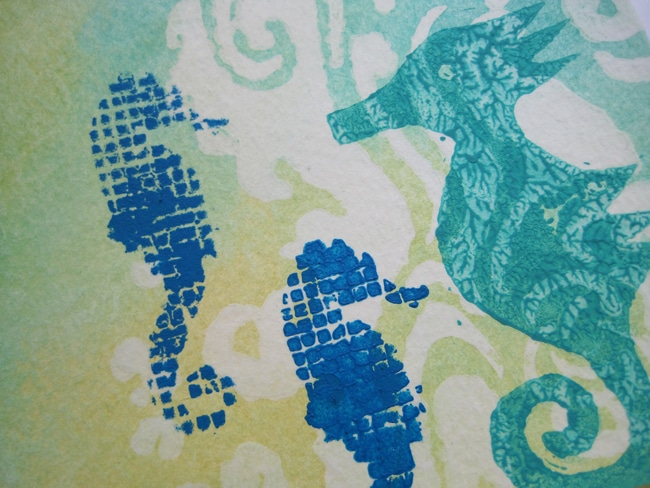 Trio of seahorses stamped and stenciled LEFKO