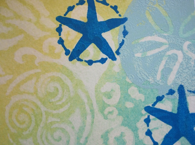 Stamped and stenciled sand dollar and starfish TCW709s LEFKO