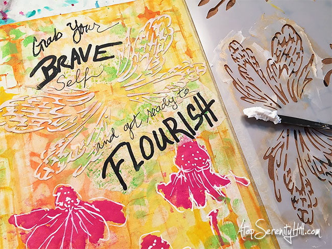 Art journal page all about my word for the year, Flourish, using stencils from The Crafter's Workshop • AtopSerenityHill.com