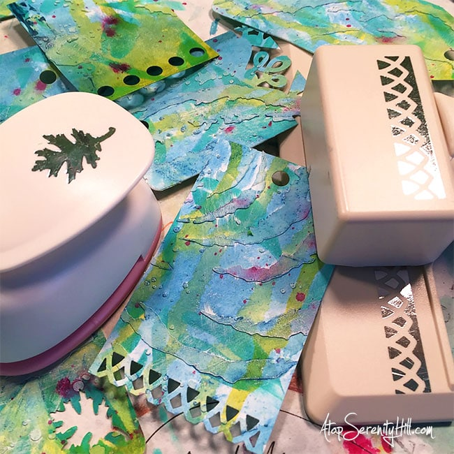 Pretty stenciled mixed media gift tags using products from The Crafter's Workshop • AtopSerenityHill.com