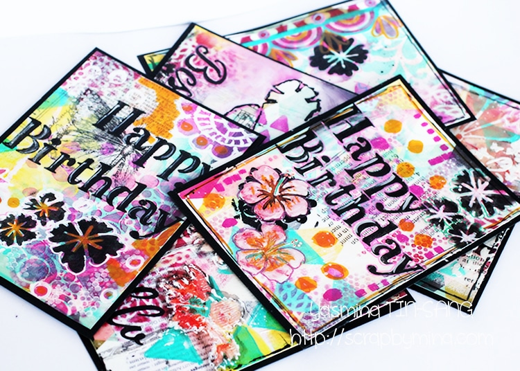 Bunch of Mixed Media cards using TCW stencils and Acrylic Paint