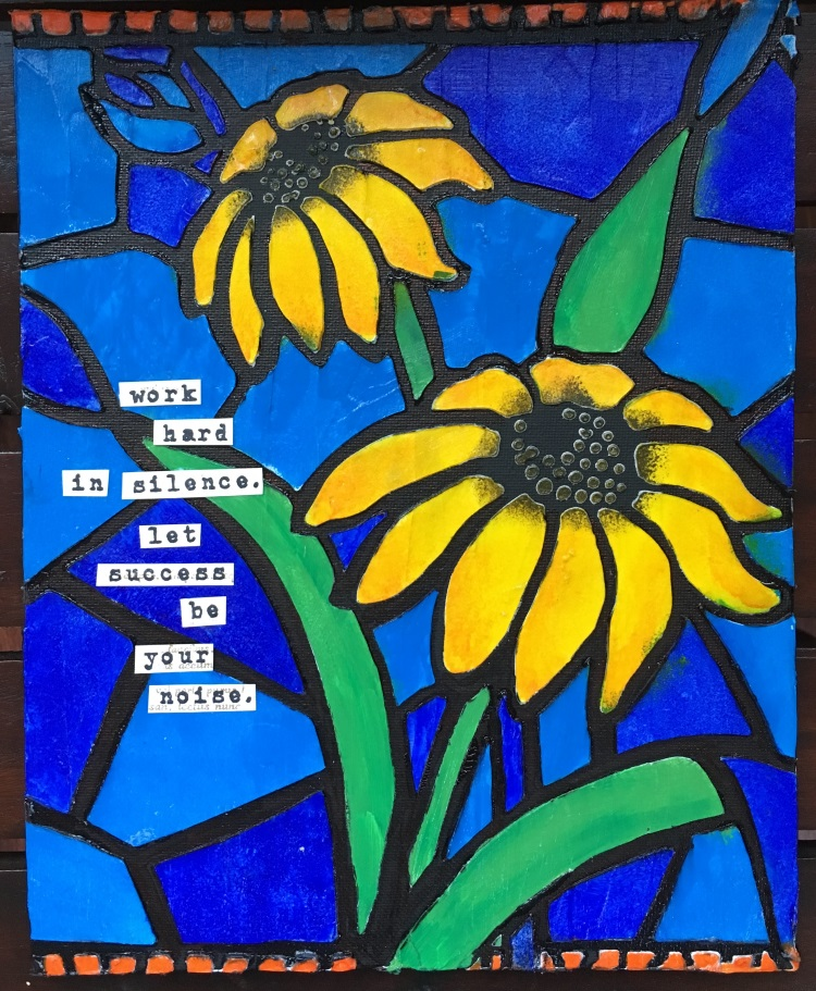Stained Glass Daisies, Canvas, Full, Kim Schofield