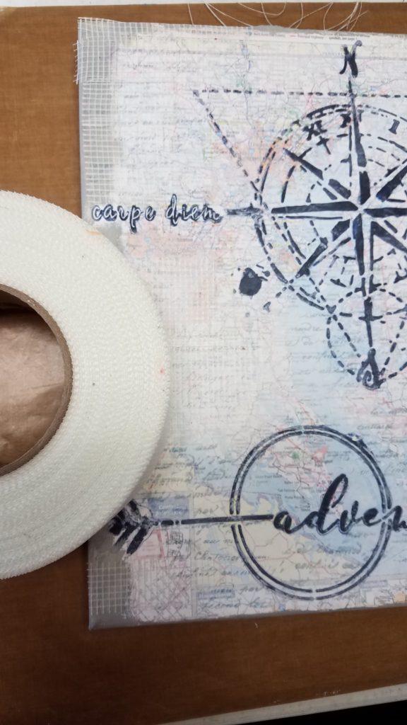 Patty Eskridge Adventure Mixed Media Canvas applying joint tape