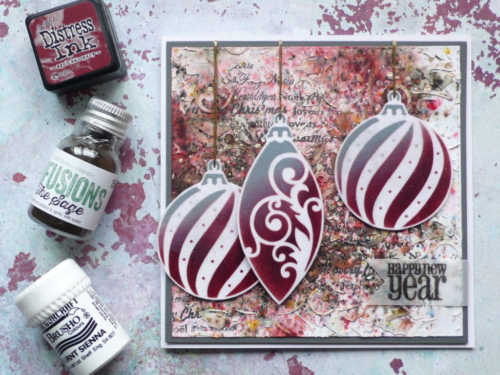 How to create a Christmas card using stencils and pigment powders