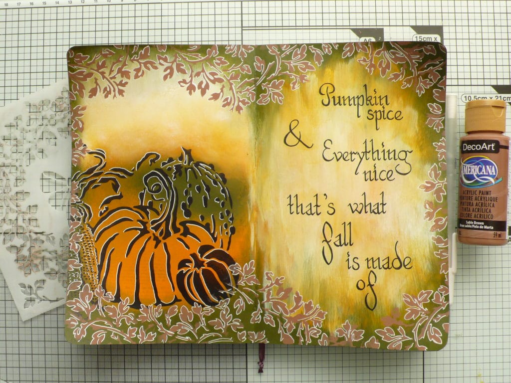 How to create a fall and pumpkin inspired art journnal page