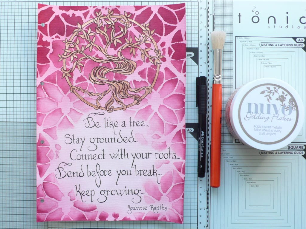 How to create a fun art and colourful art journal page using text and stencils