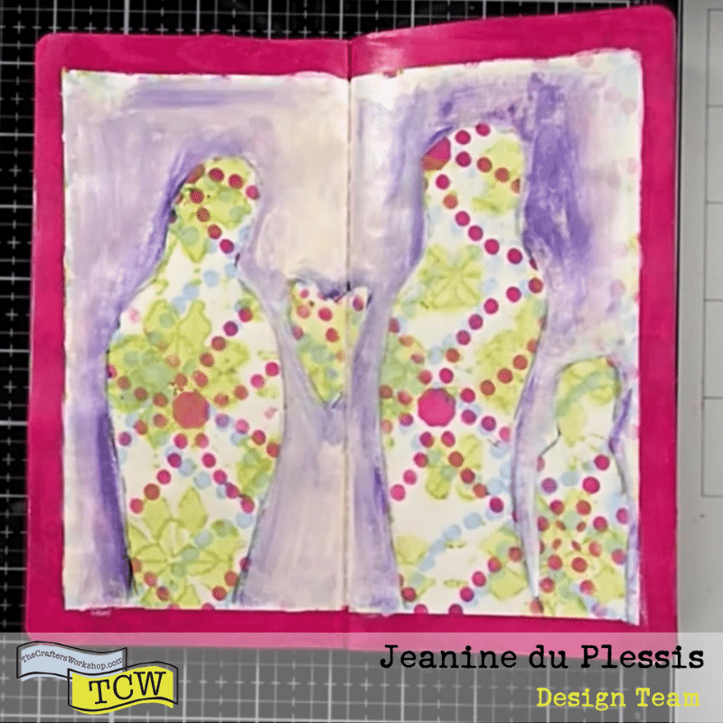 3 figures and a heart drawn out, and painted around the figures with white, sand and purple color leaving the pattern figures and heart exposed with pink border. #figurepeople #heart