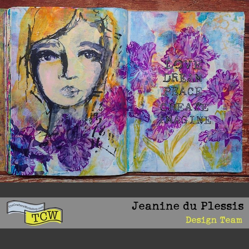 Finished picture of the art journal page showing the girl face, colorful background and purple irises. Picture of the irises mostly painted inside with purple paints. #TCW #TCWStencils #Artjournal #mixedmedia #flowers #Irises #face #TCW585-inspired words #TCW864-Irises #TCWBlackGesso #TCWMatteGelMedium