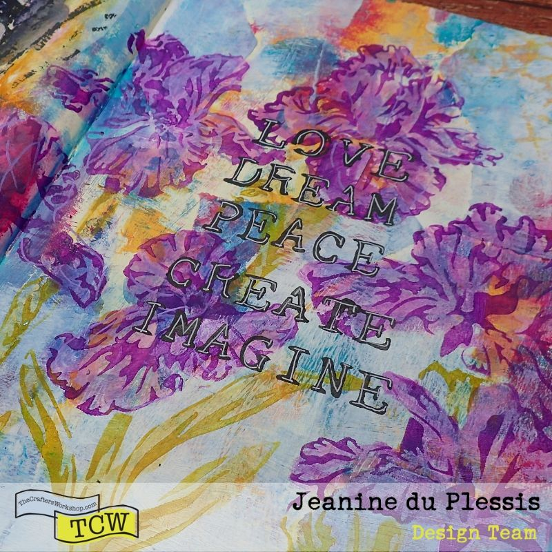 Picture of the left side of the art journal page showing a close up of the flowers on the colorful background, the purple irises and the black words. #TCW #TCWStencils #Artjournal #mixedmedia #flowers #Irises #face #TCW585-inspired words #TCW864-Irises #TCWBlackGesso #TCWMatteGelMedium
