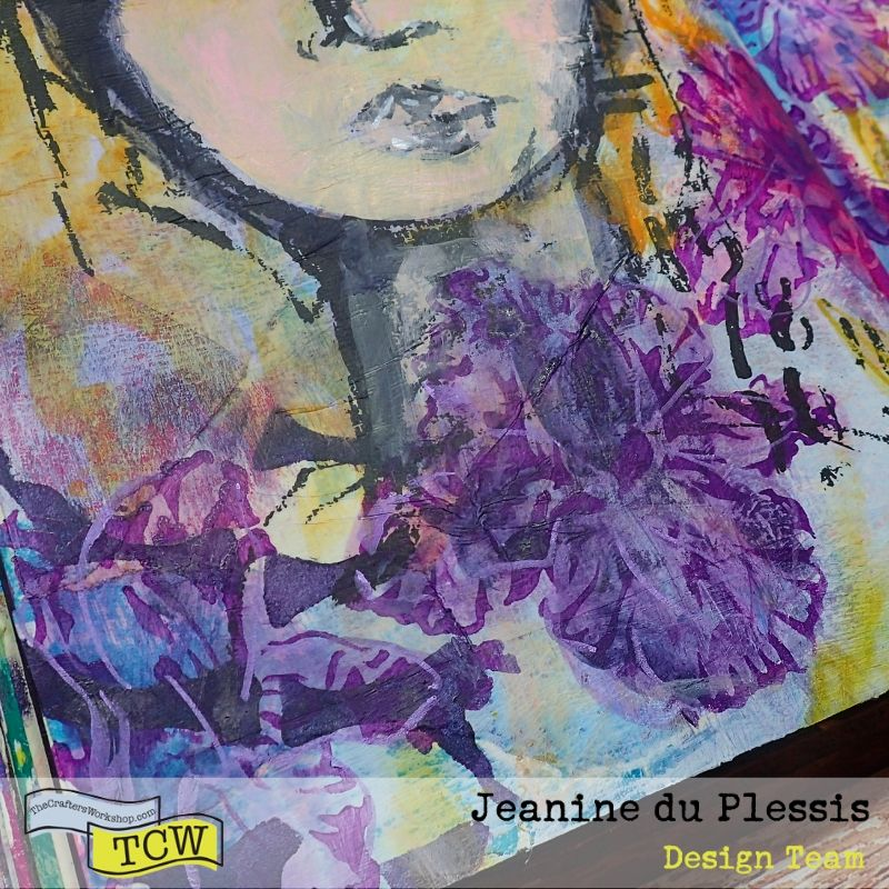 Close up picture of the left side of the page, showing lover half of the girl face and the Irises underneath.  #TCW #TCWStencils #Artjournal #mixedmedia #flowers #Irises #face #TCW585-inspired words #TCW864-Irises #TCWBlackGesso #TCWMatteGelMedium