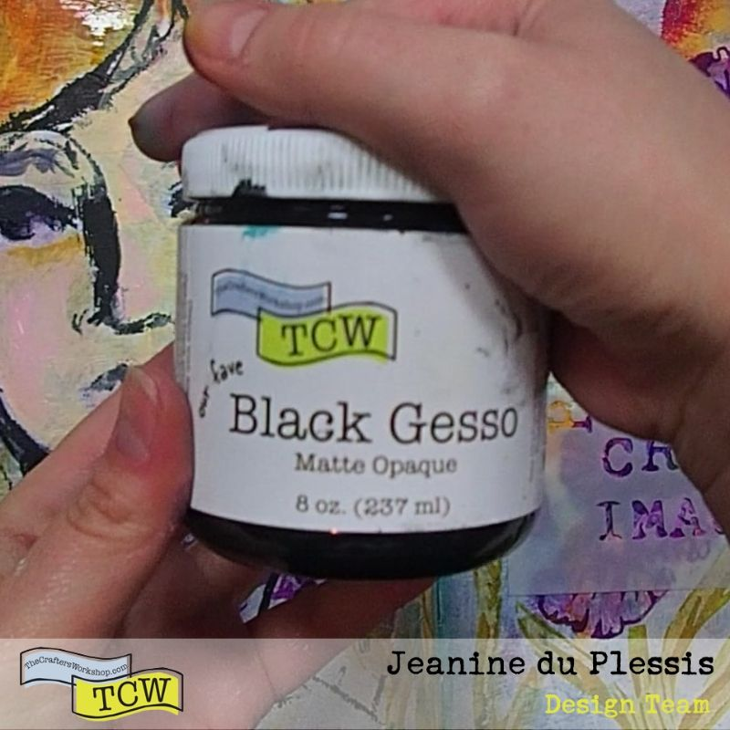Picture of TCW Black Gesso. #TCW #TCWStencils #Artjournal #mixedmedia #flowers #Irises #face #blackgesso