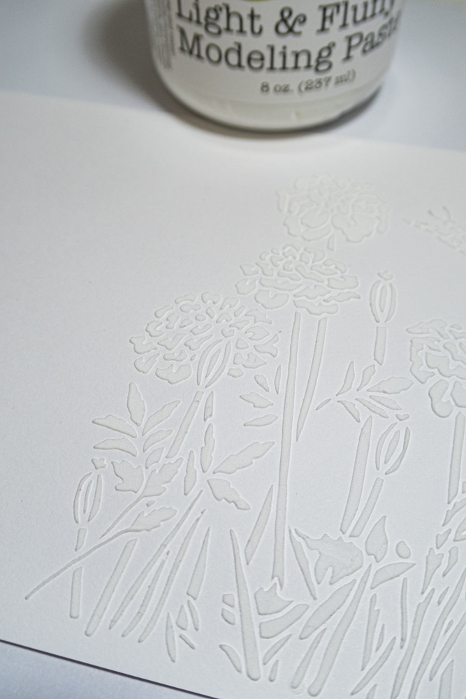 Stencilled panel, ready for colour