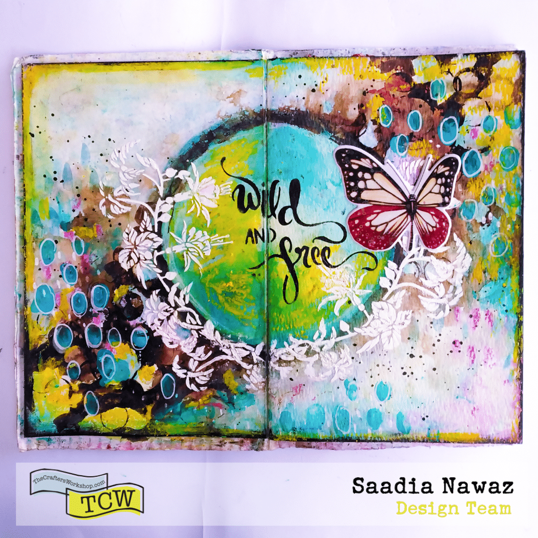 A journal spread with Ken Oliver's colorbursts, acrylic paints, modeling paste, oil pastels and The Crafter's Workshop stencils