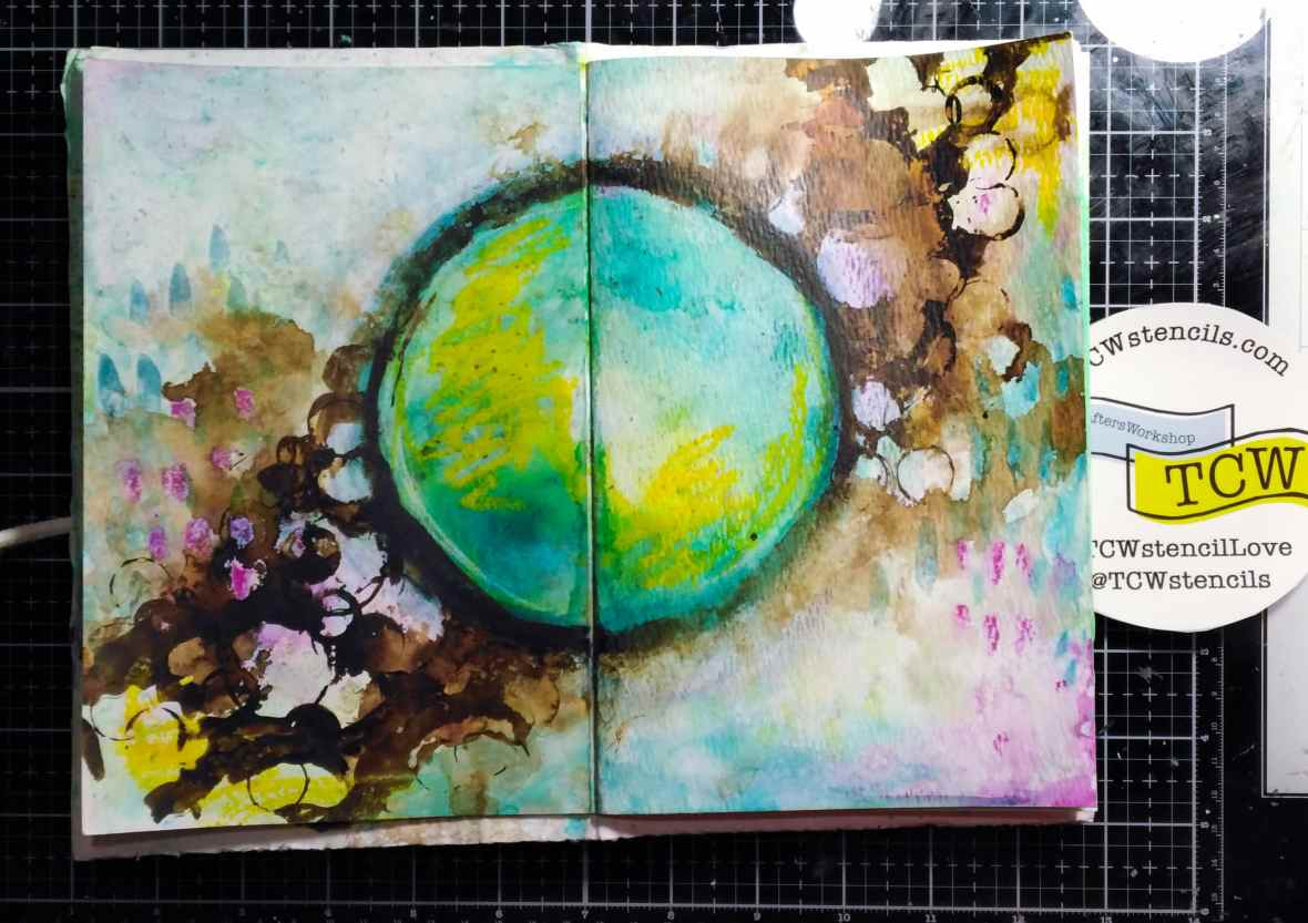 Art journal spread background with Color bursts and acrylic paints.