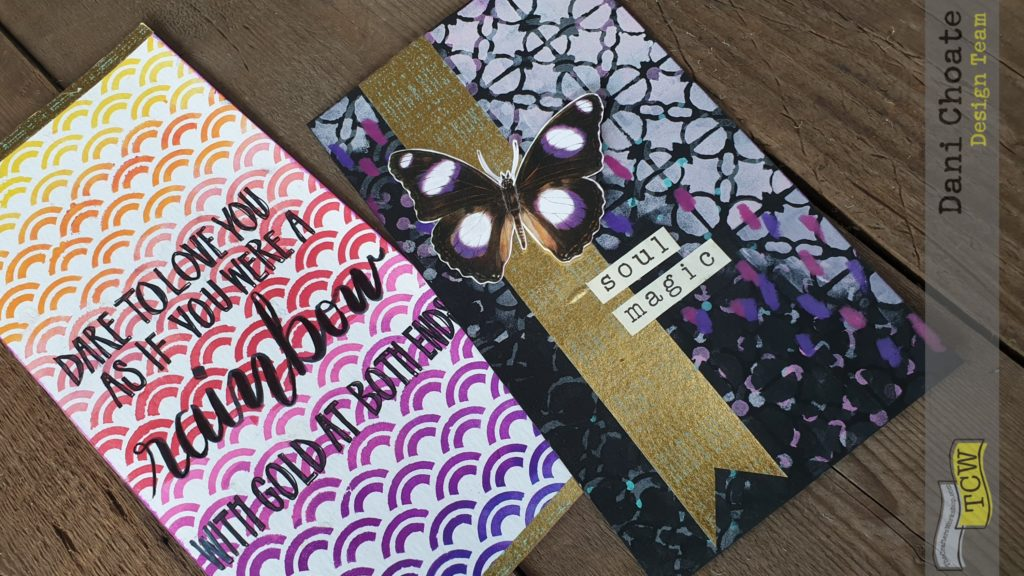 two stencilled journal cards