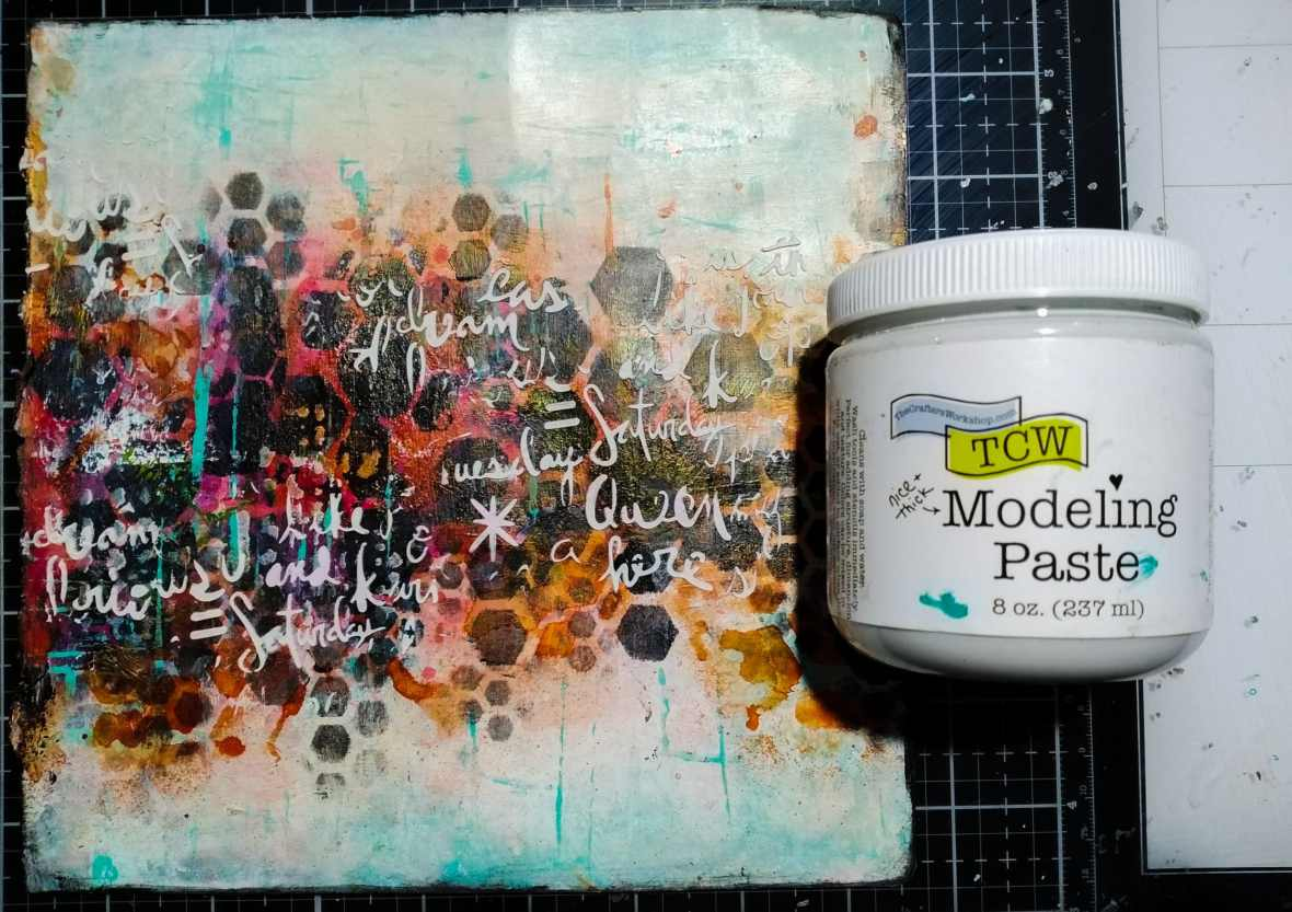 Art journal background stenciling with acrylic paints, TCW stencils and TCW9005 White Modeling paste