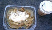 chilaquiles con pollo y salsa verde (and a latte)