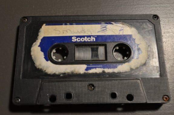Photo of the cassette containing early material of songwriter Trevor Young
