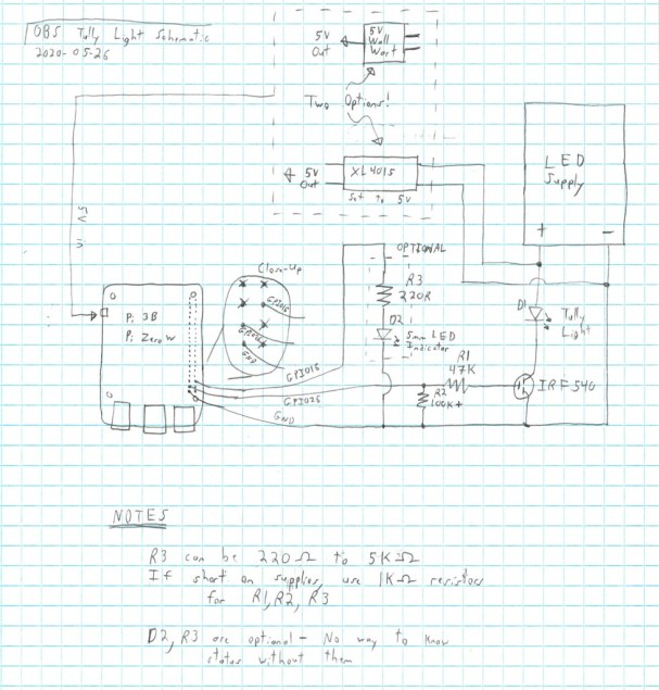 Raspberry Pi OBS Tally Light Schematic