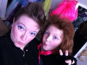 The girl and I, with our 80's popstar diva duck faces.