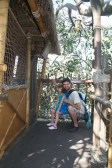 Posing in the tree house - one of the few attractions that are camera friendly.