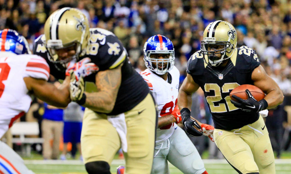 Nov 1, 2015; New Orleans, LA, USA; New Orleans Saints running back Mark Ingram (22) runs against the New York Giants during the fourth quarter of a game at the Mercedes-Benz Superdome. The Saints defeated the Giants 52-49. Mandatory Credit: Derick E. Hingle-USA TODAY Sports