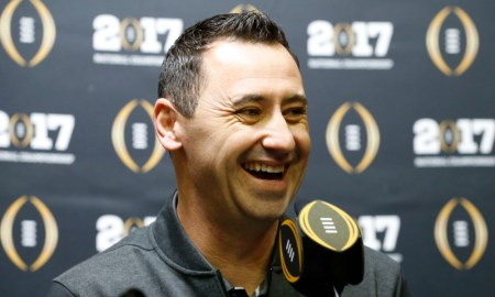 Steve Sarkisian at CFP media event for Alabama in 2016