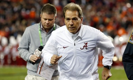 Nick Saban runs off the field in 2017 College Football Playoff title game versus Clemson