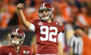 Andy Pappanastos warms up for Alabama in the 2017 CFP National Championship Game versus Clemson (2016 season)