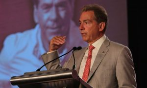 Nick Saban at the podium