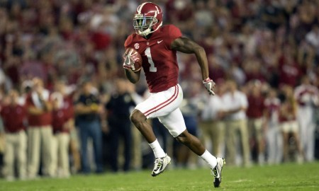 Robert Foster runs with the ball for a touchdown in 2017 for Alabama vs. Colorado State