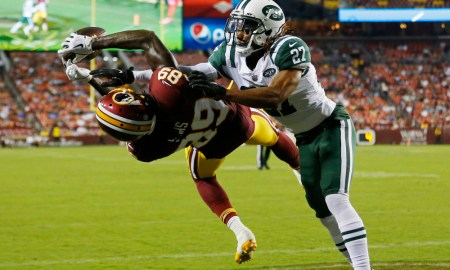Cam Sims attempts to make a catch for Washington versus New York Jets
