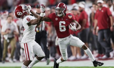 DeVonta Smith with the ball versus Oklahoma in 2018 CFP semifinal game