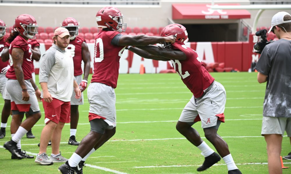 Joshua McMillon during 2019 fall camp against Dylan Moses