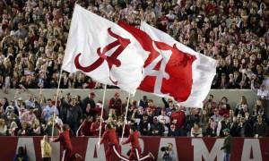 Alabama flags waving at Bryant-Denny Stadium