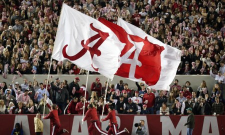 Alabama flags waving at Bryant-Denny Stadium