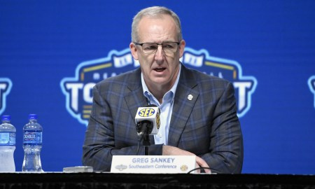 Greg Sankey at the SEC Men's Basketball Tournament announcing a cancellation due to Coronavirus back in March