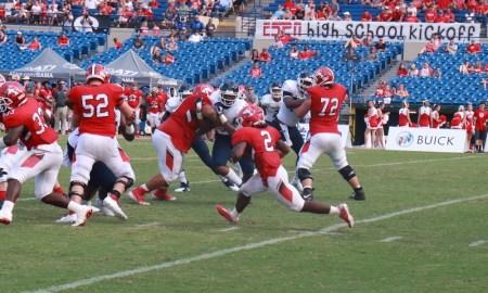 Armoni Goodwin carries the football