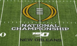 A view of the CFP logo on the field inside Mercedes-Benz Supedome for 2020 CFP National Championship Game between Clemson and LSU