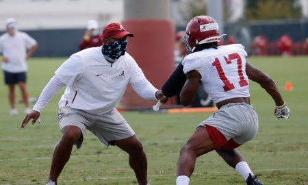 Jaylen Waddle at day 4 of Alabama football fall camp