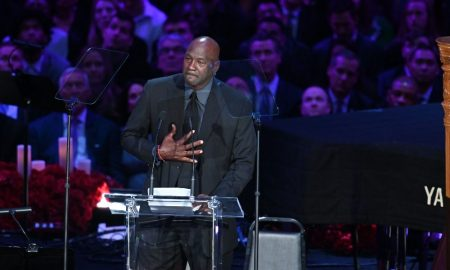 Michael Jordan speaks at Kobe Bryant's funeral at Staples Center
