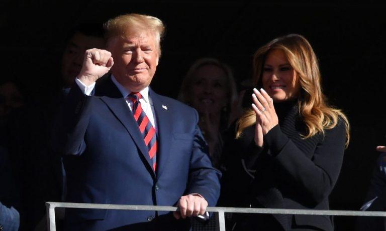 President Donald Trump and wife Melania address crowd during Alabama vs LSU game