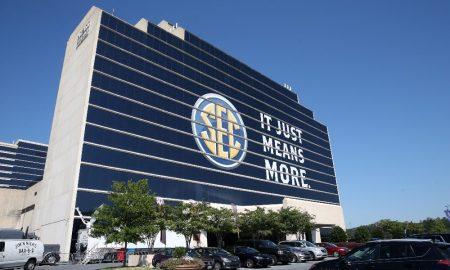 SEC Logo Outside Hotel at Media Days