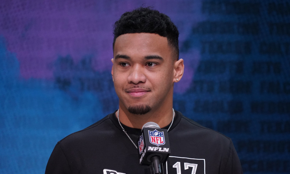 Tua Tagovailoa answering questions at 2020 NFL Scouting Combine
