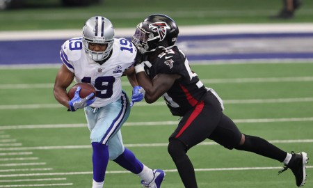 Amari Cooper with the ball for the Cowboys against the Falcons