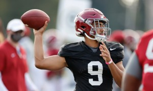 Bryce Young throws the ball at Alabama fall practice